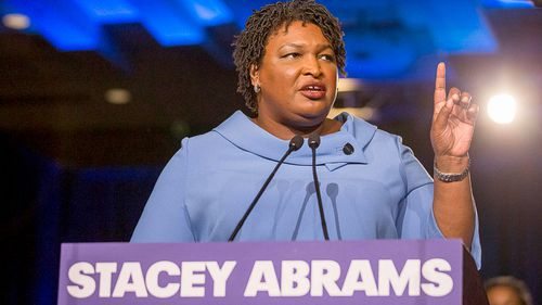 Georgia gubernatorial candidate Stacey Abrams speaks to her supporters during her election night watch party at the Hyatt Regency in Atlanta in November 2018.