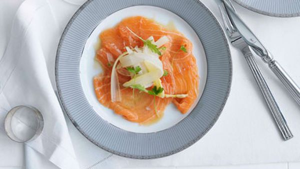 Salmon carpaccio with citrus ponzu dressing