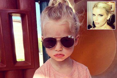 That's Maxwell Drew, Jessica Simpson's little Mini-Me daughter.