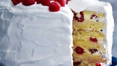 American-style raspberry and passionfruit layer cake