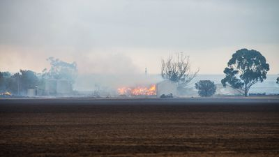 <p>Lives have been lost and at least five people are critically injuredfollowing a devastating bushfire in Pinery, South Australia. Hay sheds, such as the one pictured in the distance, were destroyed by the fire. (AAP)</p>