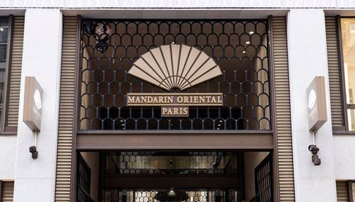 The entrance to the Mandarin Oriental Hotel, where US musician Chris Brown was staying, in Paris, France.