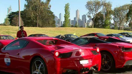 Dozens of ravishing Ferrari models out on display today. (9NEWS)