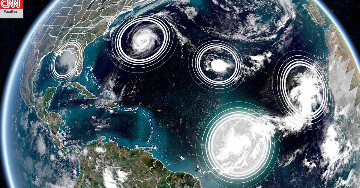 Five tropical cyclones are in the Atlantic at the same time for only the second time in history – 9News