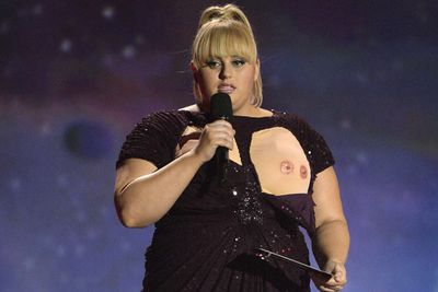Rebel Wilson's straight-faced double nipple slip was one of the highlights of the MTV Movie Awards in April. If only those nipples were real!