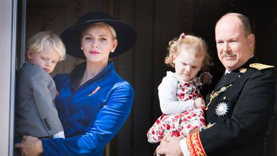 Princess Charlene of Monaco with husband Prince Albert and their twins