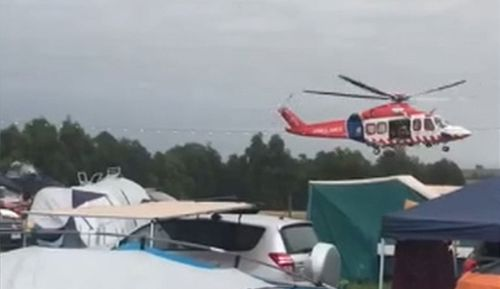 In the most recent incident, the man was attending the Beyond the Valley event in Lardner, Victoria when he fell ill.