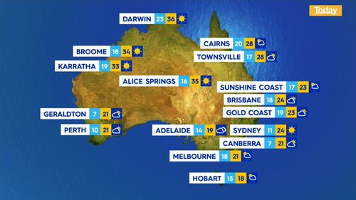 The weather across Australia on Tuesday, September 8, 2020.