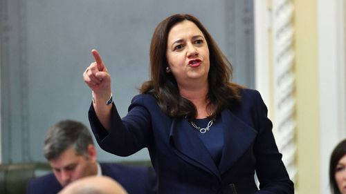 Annastacia Palaszczuk is seen speaking during Question Time at Parliament House in Brisbane today. (Image: AAP)