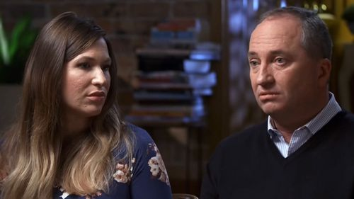 Vikki Campion and Barnaby Joyce during their Sunday Night interview. Picture: Sunday Night