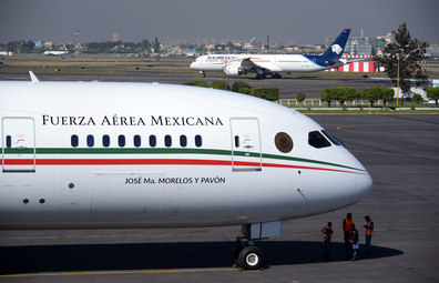 Pictured: the presidential airplane at the presidential hangar at Benito Juarez International Airport in Mexico City.