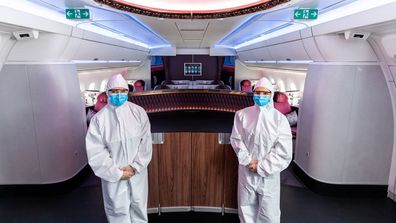 Qatar Airways crew will wear a PPE suit over their uniforms, along with safety goggles, gloves and a mask.