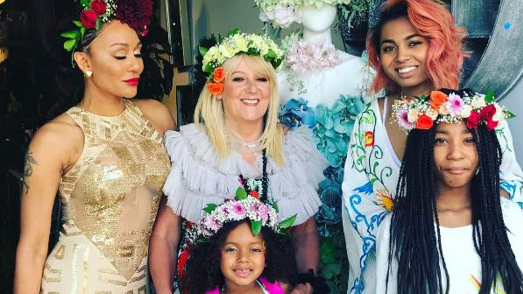 Floral tribute: Mel B reunited with her mother Andrea, alongside Mel's daughters. Image: Instagram: @officialmelb