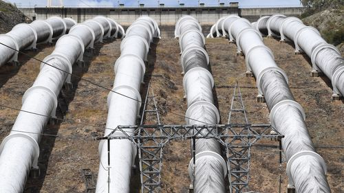 Looking down on the Tumut 3 power station at the Snowy Hydro Scheme in Talbingo. (AAP)