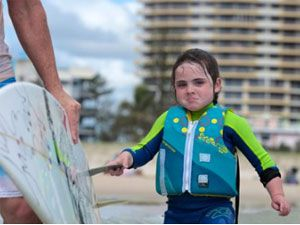 Six-year-old surfing prodigy Quincy Symonds.
