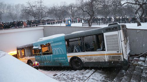 The bus ploughed through pedestrians on steps leading to an underground passageway. (AAP)