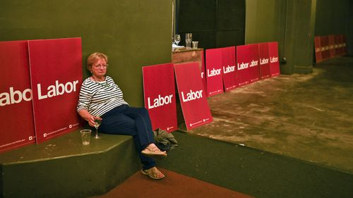 A Labor party supporter is seen after New South Wales Labor leader Michael Daley conceded defeat of the 2019 New South Wales Election at the Coogee Bay Hotel, Coogee, in Sydney.