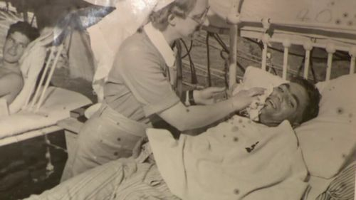 Mrs Cornford met her husband, Dudley, during the war and helped him recuperate from malaria. (9NEWS)