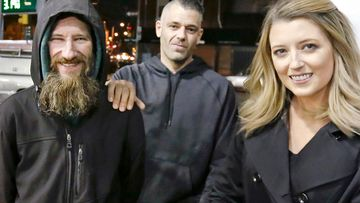 Johnny Bobbitt Jr (left), Kate McClure, (right), and McClure's boyfriend Mark D'Amico.