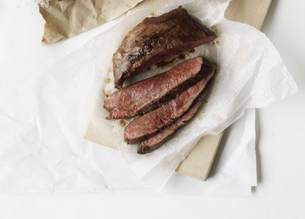 Pan-fried skirt steak with red wine butter and fat chips