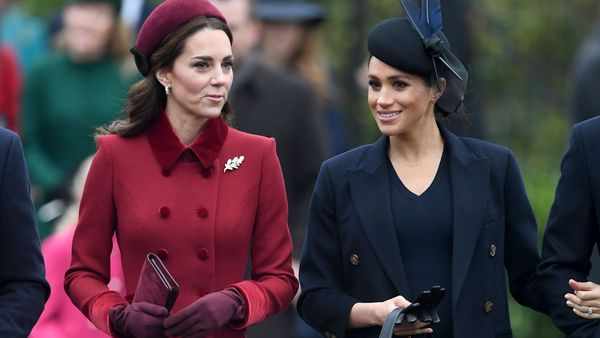 The Duchess of Cambridge and the Duchess of Sussex arrive for the Christmas Day service at St Mary Magdalene Church in Sandringham, Norfolk.
