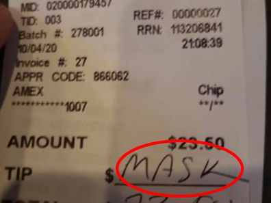 Waitress says customer wrote 'mask' on receipt in lieu of tip after she reminded him of policy