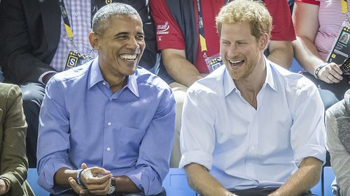 Barack Obama and Prince Harry watch wheelchair basketball at the Invictus Games in Toronto in September. (AAP)