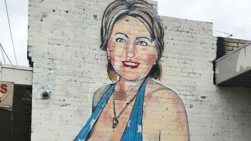 Melbourne street artist behind racy Hillary Clinton mural has Instagram account deleted
