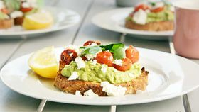Smashed avocado with blistered cherry tomatoes