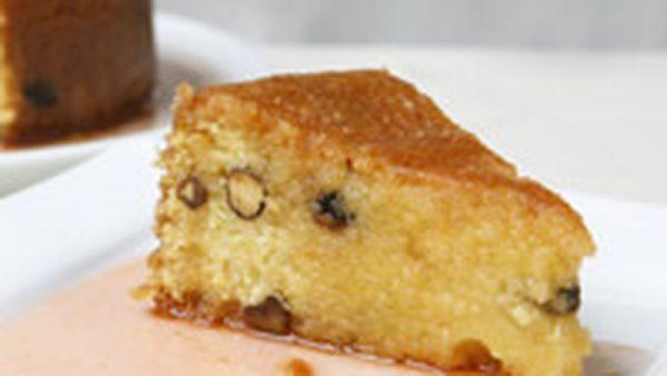 Pistachio and polenta cake with blood orange syrup