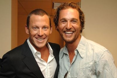 While Lance may have lost a few points with fans over his drug scandal, pal Matthew McConaughey stuck by his side. Pic: Getty