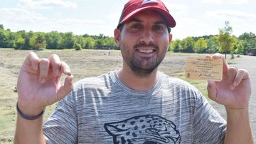 Josh Lanik, 36, was vacationing with his family when he discovered a brandy-colored gem at Crater of Diamonds State Park in Murfreesboro, Arkansas.