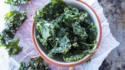 """Recipe: <a href=""""http://kitchen.nine.com.au/2017/05/16/12/23/salt-and-vinegar-kale-chips"""" target=""""_top"""">Salt and vinegar kale chips</a>"""