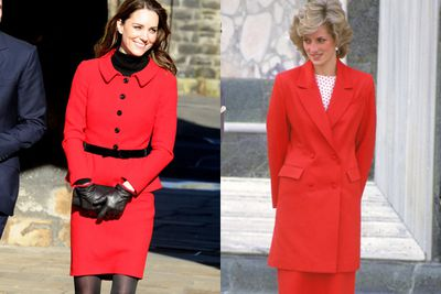 Both Kate and Di pull off a conservative red suit.