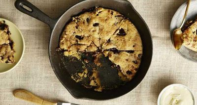 """Recipe: <a href=""""http://kitchen.nine.com.au/2017/03/15/13/26/i-quit-sugars-choc-chip-skillet-cookie"""" target=""""_top"""" draggable=""""false"""">Choc chip sugar free skillet cookie</a>&nbsp;- or scroll through for more lunchbox treat inspiration"""