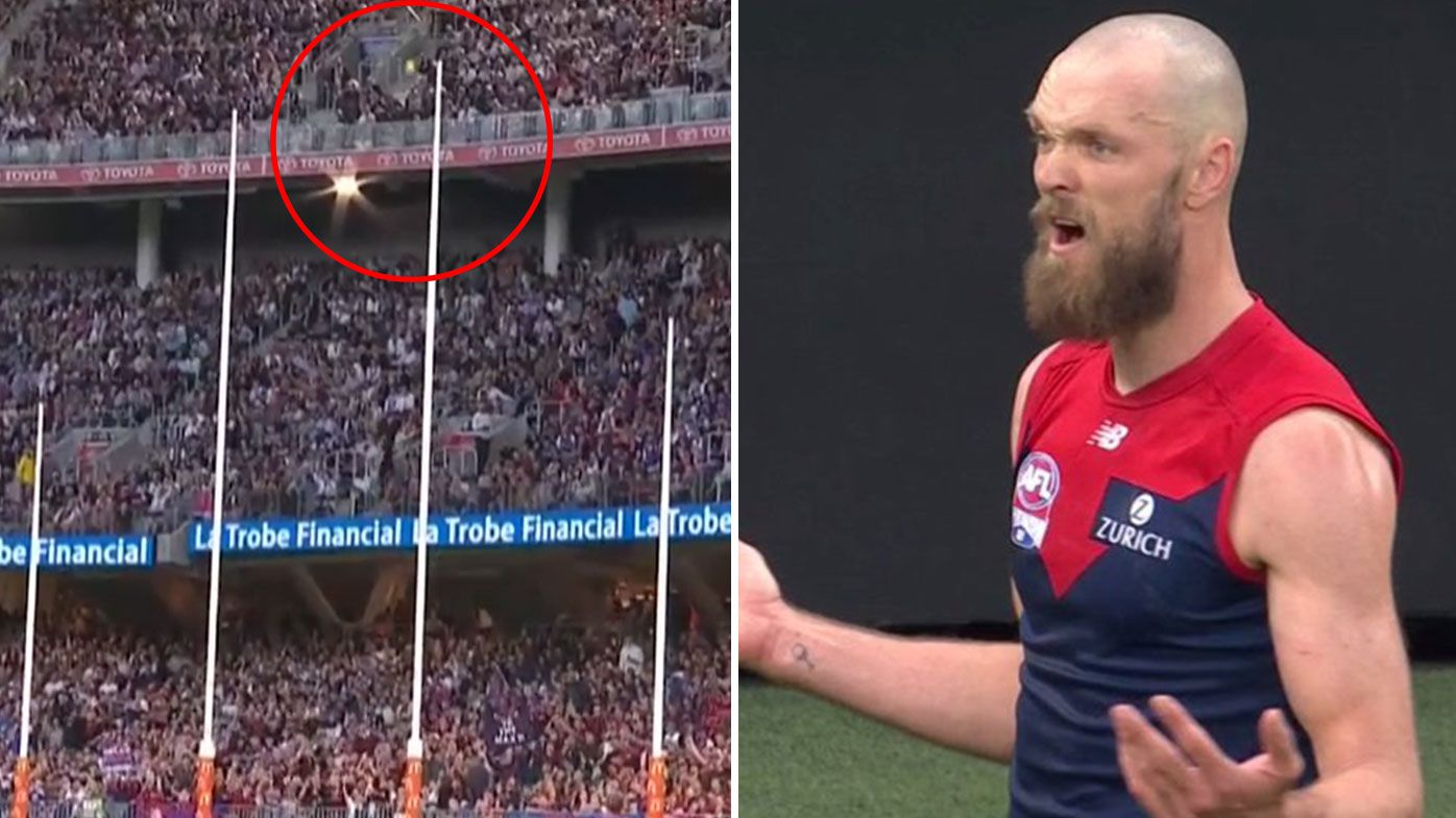Max Gawn confused at goal umpire's decision