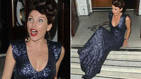 Oops! Dannii Minogue stacks it in ball gown at her own fashion launch