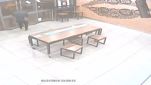 The offender fled the pizza shop empty-handed.