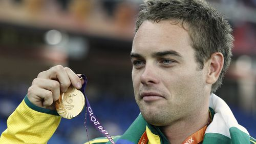 Jarrod Bannister poses with his gold medal   during the Commonwealth Games in New Delhi, India, October, 2010 (AAP).