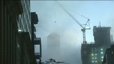 The fog engulfed the Brisbane CBD. (9NEWS)