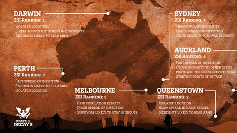 This map from Xbox Australia documents the rankings of Australasian cities during a zombie apocalypse.