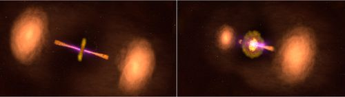 This illustration shows two views of the active galaxy TXS 0128+554, located around 500 million light-years away. Left: The galaxy's central jets appear as they would if we viewed them both at the same angle. Right: The galaxy appears in its actual orientation, with its jets tipped out of our line of sight by about 50 degrees.