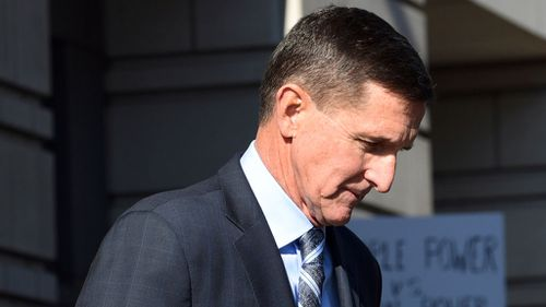 Mike Flynn leaving the federal court in Washington DC (AP Photo)