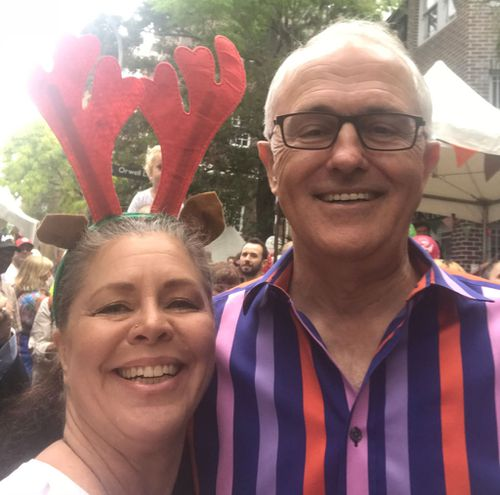 Nikki Lange, who lost her son in September, posing for a selfie with Mr Turnbull. (Supplied)
