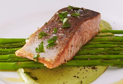 Salmon with avocado sauce