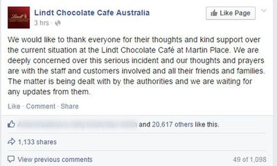 Under siege, Lindt Chocolate Cafes Australia say thanks.
