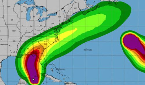 The US National Oceanic and Atmospheric Administration's predicted path of Hurricane Michael.