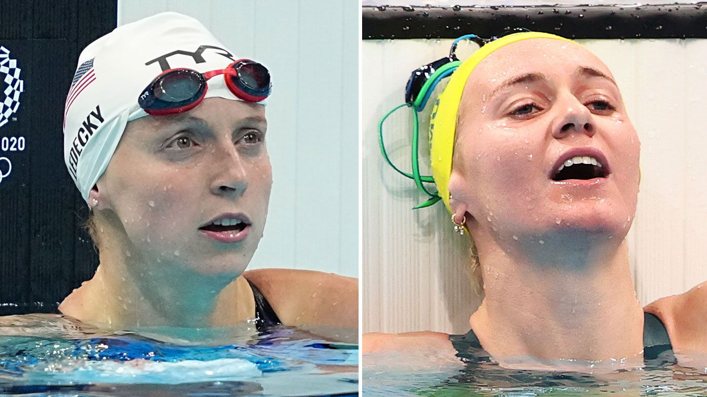 Katie Ledecky fastest in 200m freestyle heats, Ariarne Titmus fourth, David Morgan 'just died' in 200m butterfly