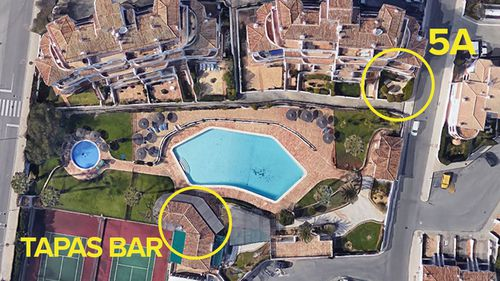 Diagram showing Tapas bar and McCann family holiday apartment