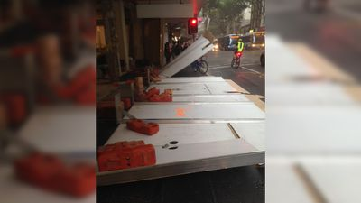 This wall fell down in Adelaide Street, Brisbane, during the storm. (Phoebe Bristol)